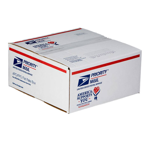 Tape your box so that it closes flat on all sides and reinforce the flaps with 2-inch wide packing tape. If you're reusing a box, make sure the old addresses are covered or blacked out. NOTE: Priority Mail and Priority Mail Express come with free boxes you can pick up at your Post Office ® or order online.